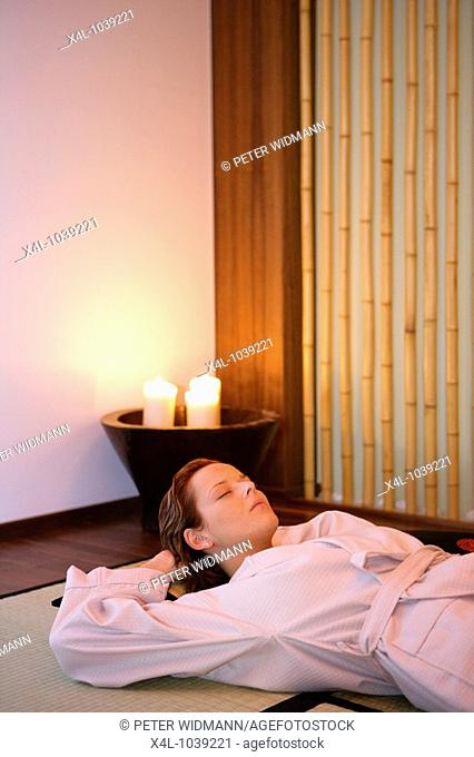 Young woman relaxing in Wellness Hotel