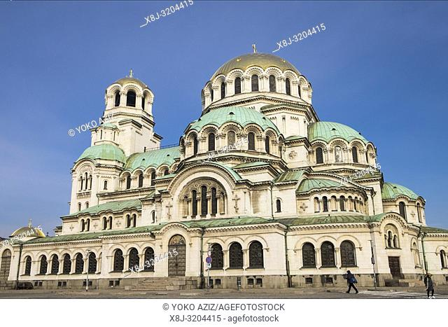 Bulgaria, Sofia, Cathedral church Alexander Nevski in the center of the Bulgarian capital Sofia