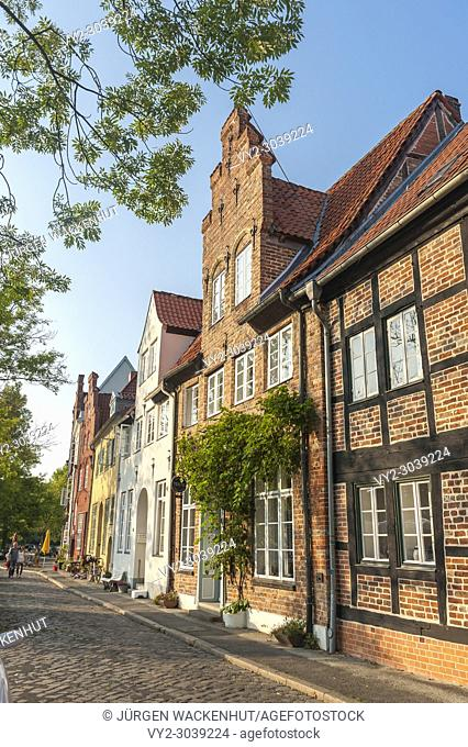 Historic buildings in the street An der Obertrave, Lubeck, Baltic Sea, Schleswig-Holstein, Germany, Europe