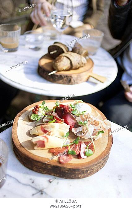 Close-up of cold cuts served on table