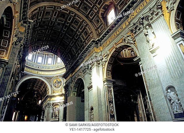 Statues And Ceiling at Saint Peter's Basilica, Vatican City, Rome, Italy