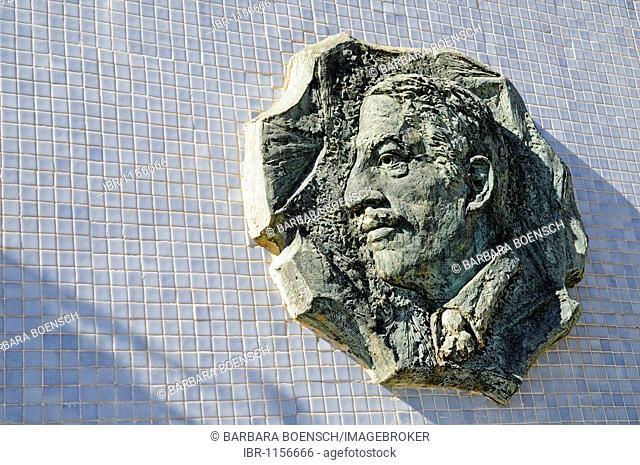 Memorial, head, relief, Alfonso Torres, mayor, Cartagena, Costa Calida, Murcia, Spain, Europe
