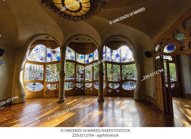 Interior of the Casa Batlló by Antoni Gaudi, Barcelona, Spain