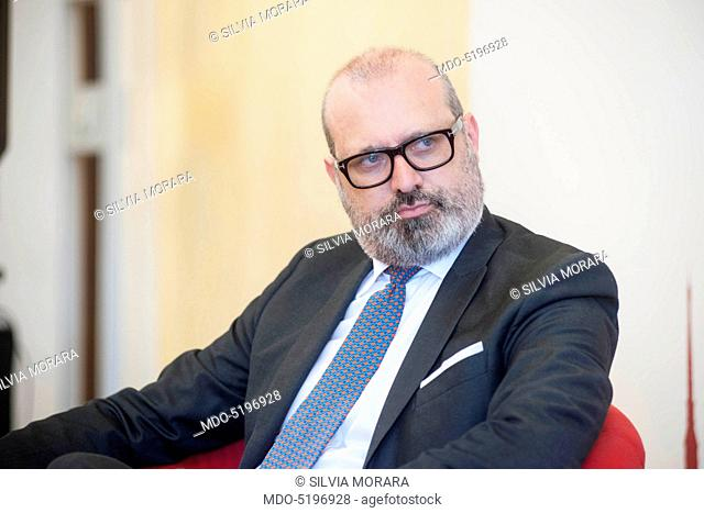 The Governor of Emilia-Romagna Stefano Bonaccini being interviewed by Giorgio Mulè, director of Panorama, during the event Panorama d'Italia