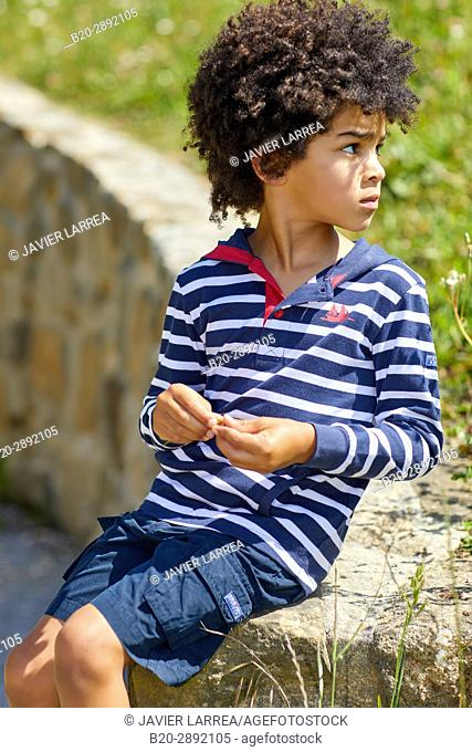 Boy, Marine clothing, Zarautz, Gipuzkoa, Basque Country, Spain, Europe