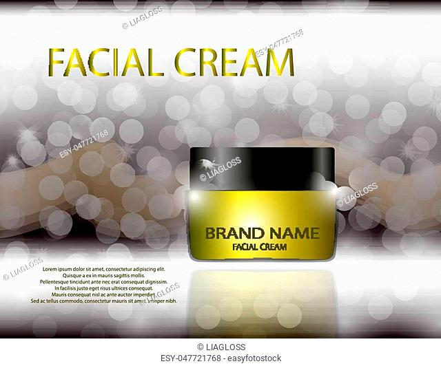 Glamorous facial cream jar on the sparkling effects background. Mockup 3D Realistic Vector illustration for design, template