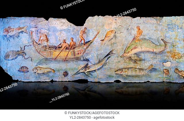 Roman Fresco with boats and marine life from the second quarter of the first century AD. (mosaico fauna marina da porto fluviale di san paolo)