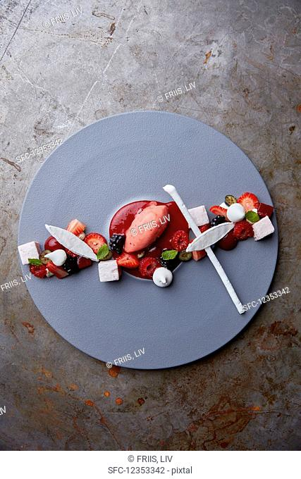Various desserts with berries (top view)