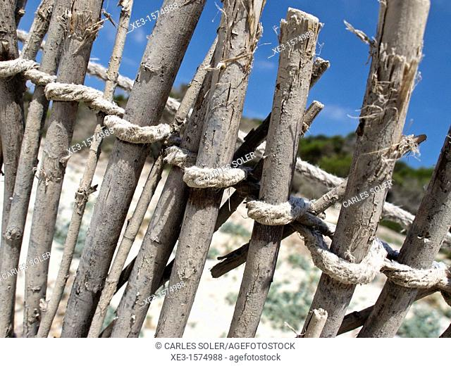 Old fence on a Majorcan beach