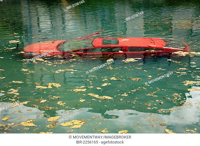 Car submerged in water, fire drill at the Teichmuehle pond, Soest, Sauerland, North Rhine-Westphalia, Germany, Europe, PublicGround
