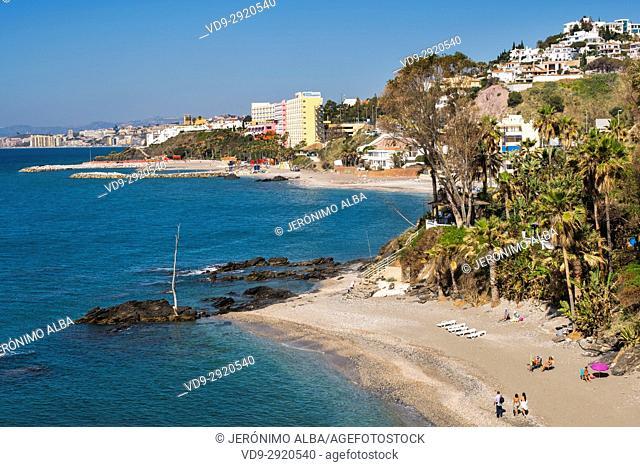 La Viborilla beach, mediterranean sea. Benalmadena, Costa del Sol, Málaga province. Andalusia, Southern Spain Europe