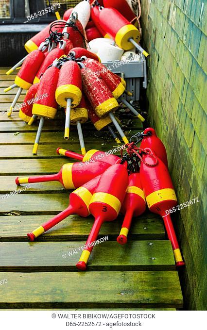 USA, Maine, Mt. Desert Island, Bernard, lobster buoys