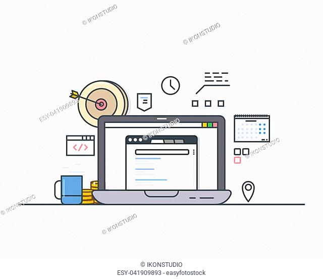 Online targeting concept. Line modern vector illustration. Laptop with website and search engine. Arrow and bullseye, cup of coffee