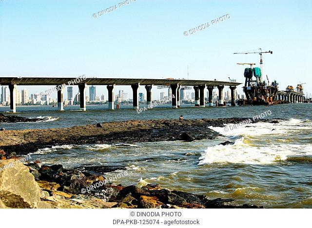 Progress of Bandra-Worli sea bridge ; Bombay Mumbai ; Maharashtra ; India