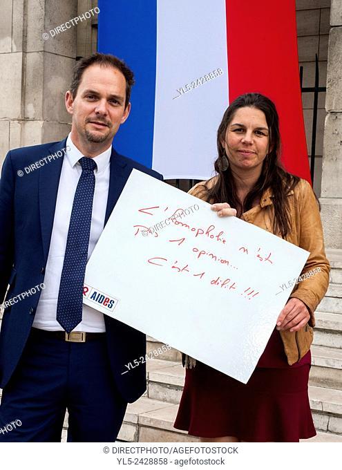 Montreuil, France, L'Association de la Lutte Contre le SIDA AIDES et Les Elues se mobilise Pour le journée Contre l'Homophobie, Portraits