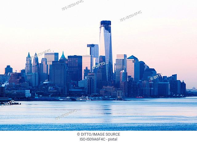 Manhattan skyline and waterfront at sunset, New York City, USA