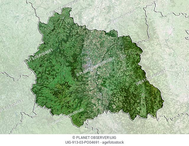 Departement of Puy-de-Dome, France, True Colour Satellite Image