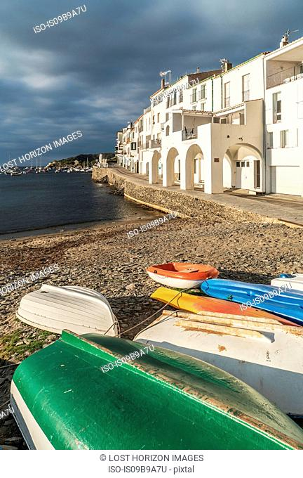 Rowing boats at waters edge, Cadaques, on the Costa Brava, Spain