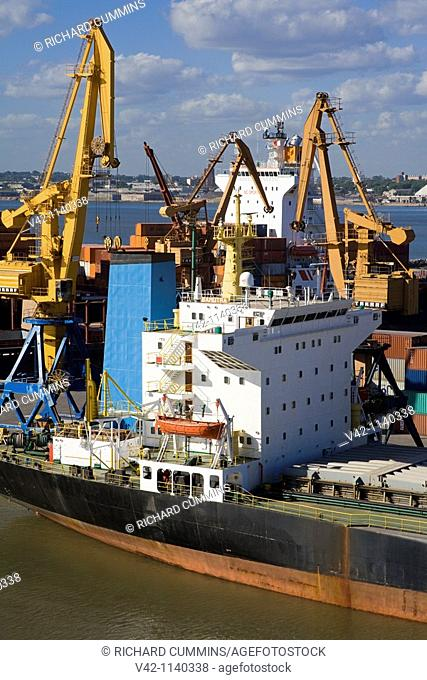 Ship docked in the Commercial Port, Montevideo, Uruguay, South America