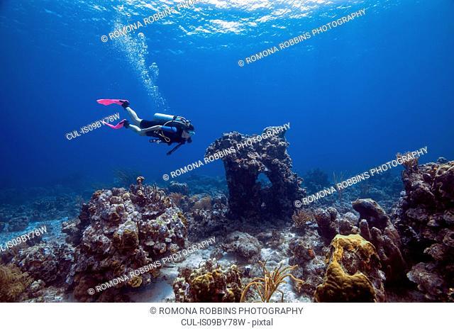 Female diver exploring reefs, Curacao