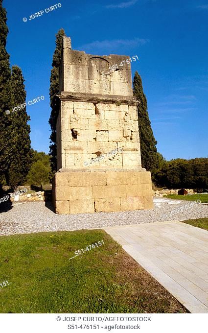 Tower of the Scipios roman monument (1st century AD). Tarragona province, Catalonia, Spain