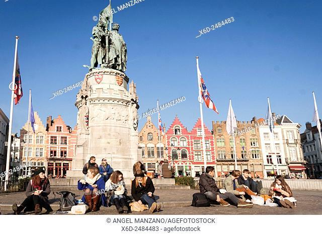Grand place, Main square, Bruges, Belgium