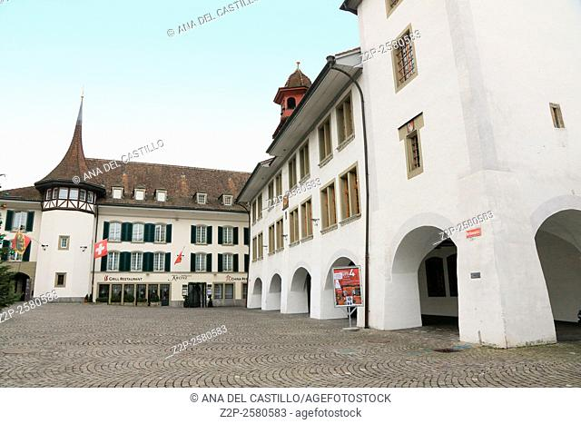 THUN SWITZERLAND-DECEMBER 6, 2015: Thun is a medieval city in the administrative district of Thun in the canton of Bern, located where the Aare river flows out...