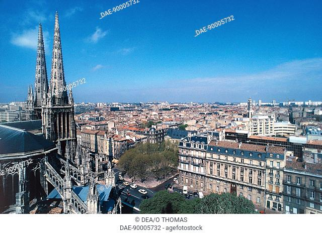 Aerial view of Bordeaux with Cathedral - Aquitaine, France