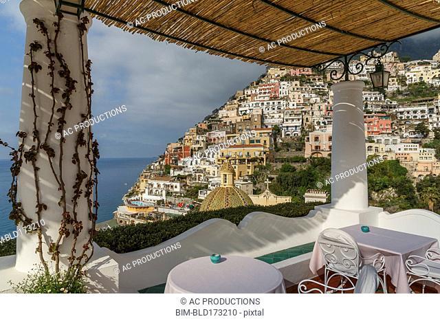 Gazebo overlooking Positano cityscape, Amalfi Peninsula, Italy
