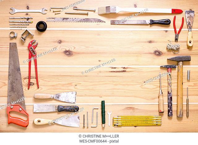 Various tools on wood