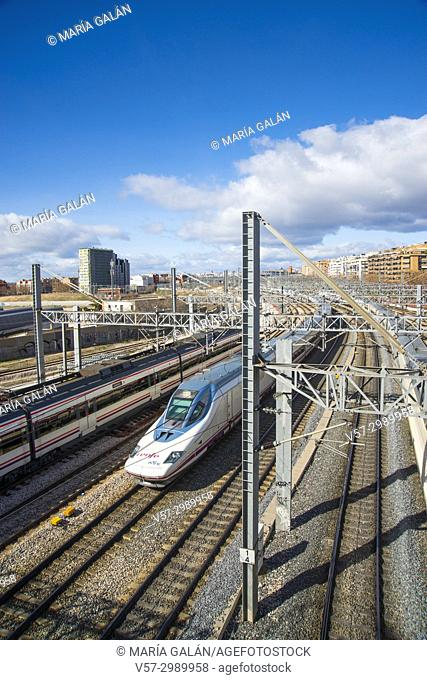 AVE high-speed train traveling near Puerta de Atocha railway station. Madrid, Spain