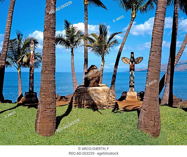 Historical burial place beach of Kihei Island Maui Hawaii USA