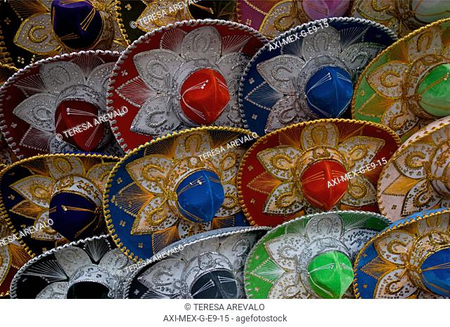 Full frame of Mariachi hats, Ciudadela, Mexico