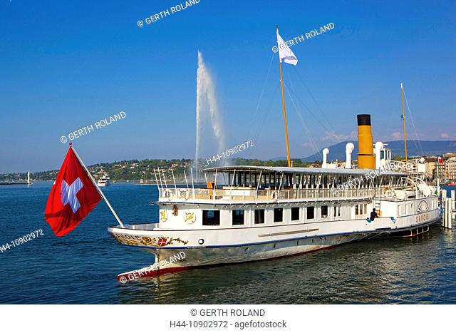 Geneva, Switzerland, Europe, canton Geneva, town, city, harbour, port, entrance, fountain, jet d'eau, Genevan, lake, Leman, ship, bicycle steamboat, Swiss flag