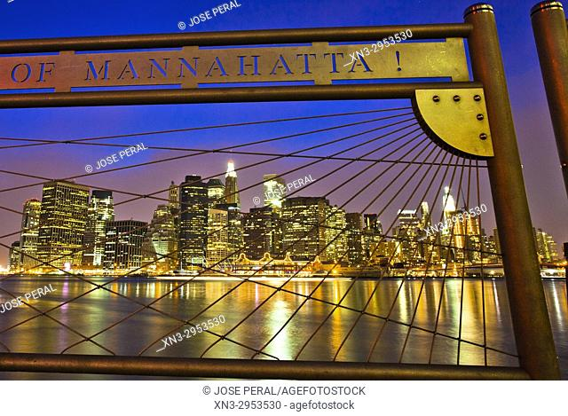 Manhattan skyline on background from the Brooklyn promenade, East River, Brooklyn, New York City, New York, USA