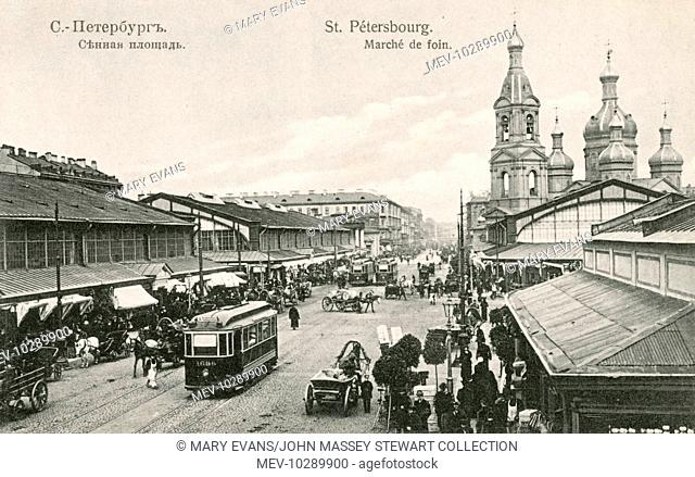 View of the Haymarket (Hay Square, or Sennaya Ploschad), St Petersburg, Russia, looking up Sadovaya Street towards Nevski Prospekt