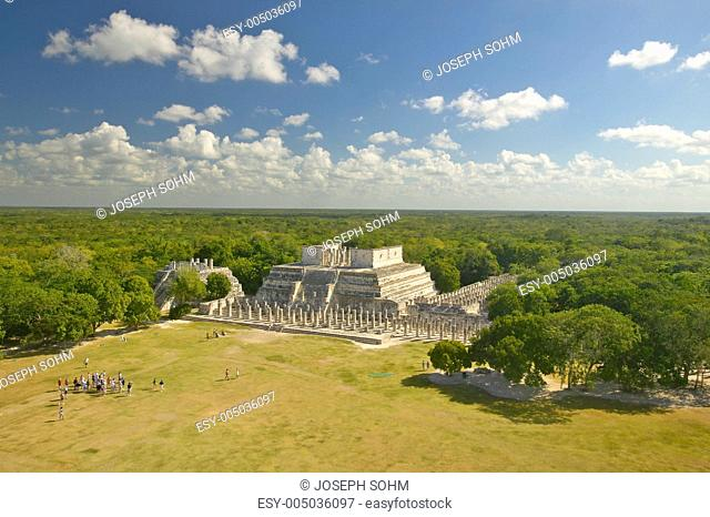 A panoramic view of the Temple of the Warriors out of jungle at Chichen-Itza. A Mayan ruin, in the Yucatan Peninsula, Mexico
