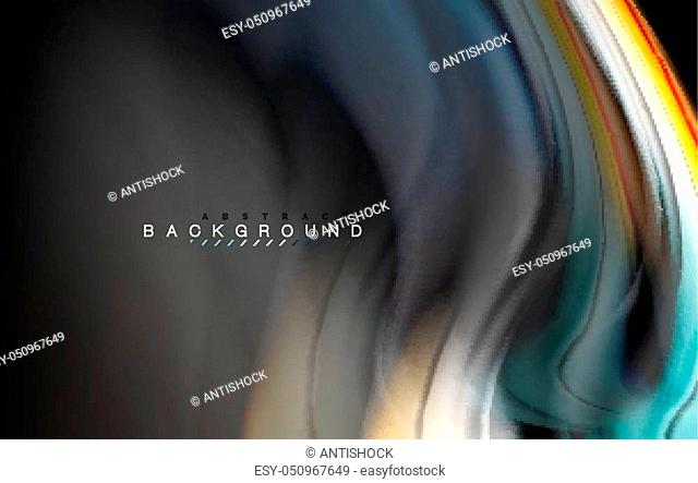 Fluid liquid colors design, colorful marble or plastic wavy texture background, glowing multicolored elements on black, for business or technology presentation...