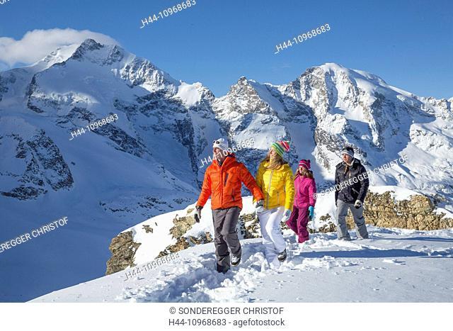 Pontresina, tour, Diavolezza, Saas Queder, Berninamassiv, mountain, mountains, glacier, ice, moraine, snow, tracks, traces, footpath, couples, man, group, woman