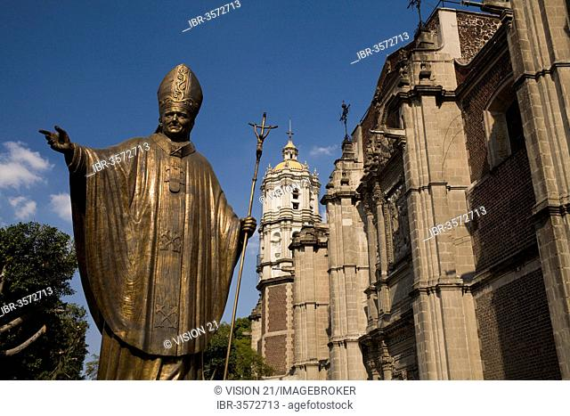 Statue of John Paul II next to the old Basilica of Our Lady of Guadalupe, Mexico City, Federal District, Mexico