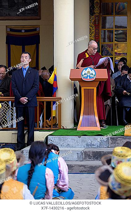 His holiness the Dalai Lama speaking about the situation of the Tibetan people in exile, in Namgyal Monastery,Tsuglagkhang complex  McLeod Ganj, Dharamsala