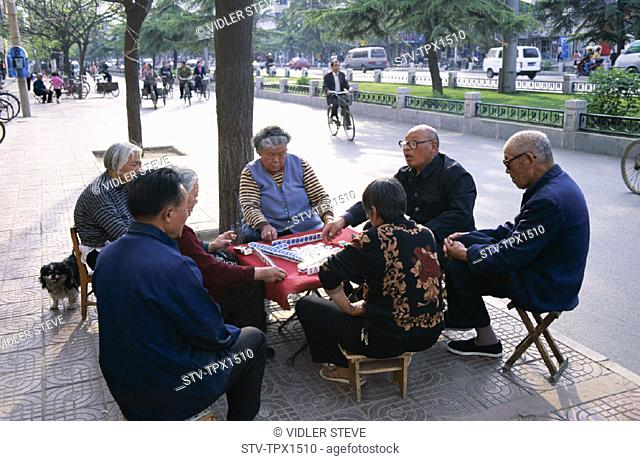 Asia, Beijing, Peking, China, Elderly, Gambling, Game, Holiday, Landmark, Mahjong, Men, Playing, Street scene, Tourism, Travel