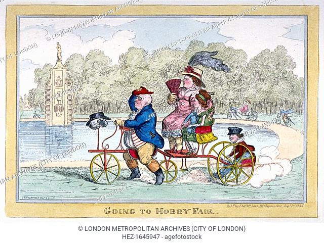 'Going to Hobby Fair', 1835. A lake in a park, with citizens disporting themselves on hobby horses on the banks. In the foreground a stout figure