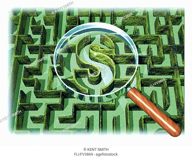 Maze with Dollar Sign and Magnifying Glass