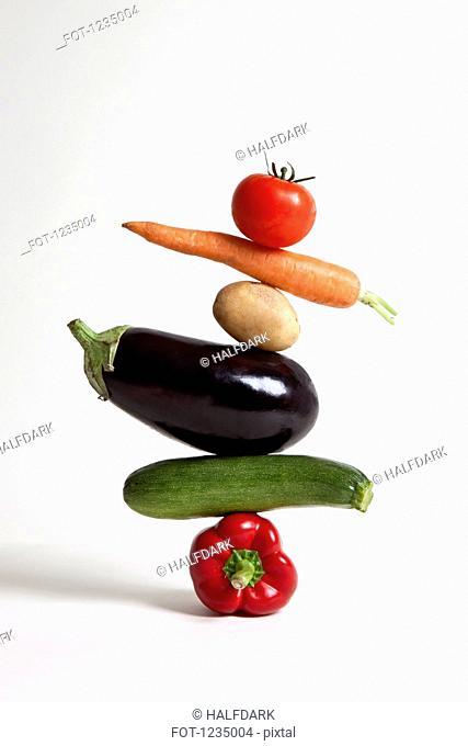 Vegetables arranged in a stack