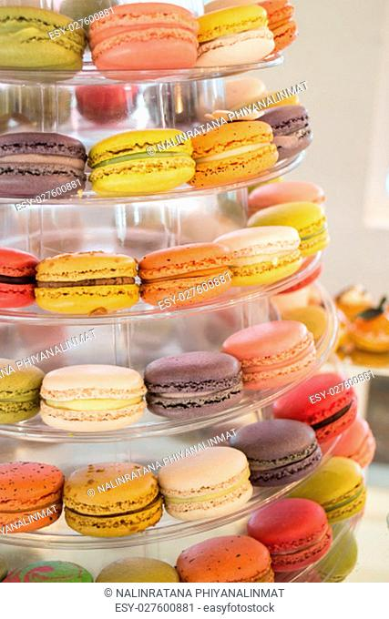 Cake macaron, macaroon or colorful almond cookies, stock photo