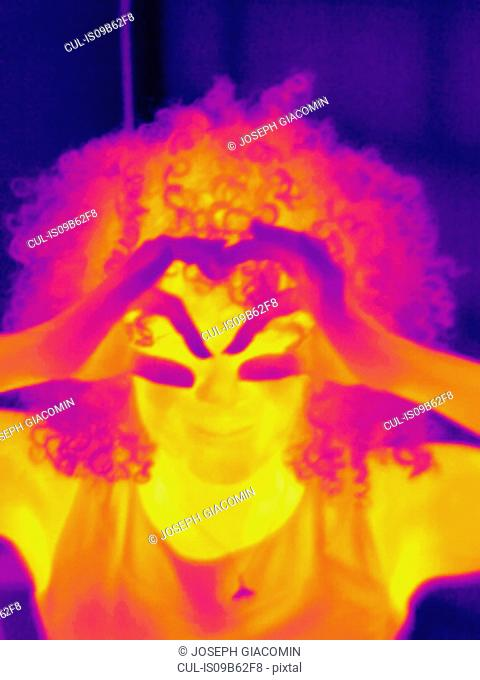 Thermal image portrait of mid adult woman making eye spectacles with hands