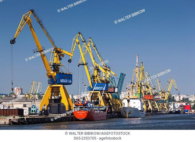 Romania, Black Sea Coast, Constanta, Constanta Port, cargo cranes
