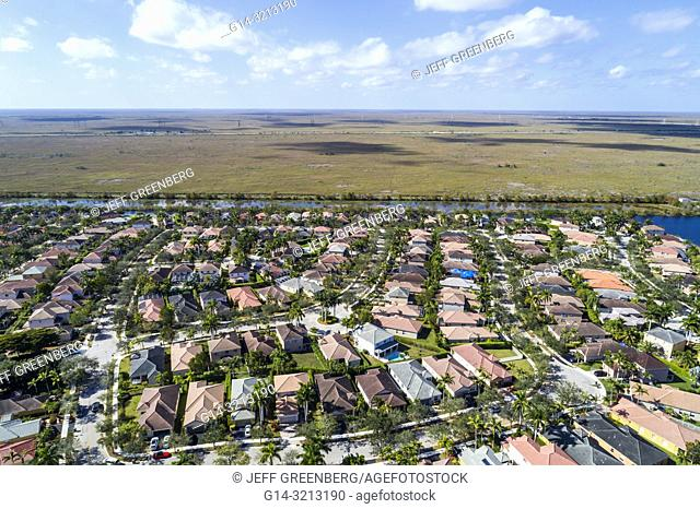 Florida, Weston, aerial view, homes residences bordering Everglades Francis S. Taylor Wildlife Management Area