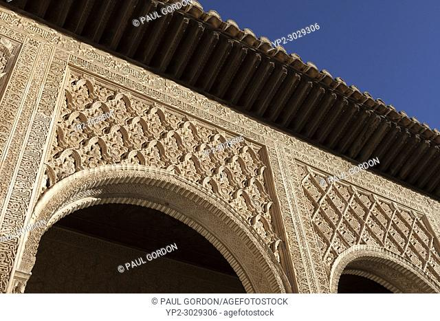 Granada, Spain: The Alhambra Palace and Fortress. Arabesque details of the Comares Palace in the Palacio Nazaríes